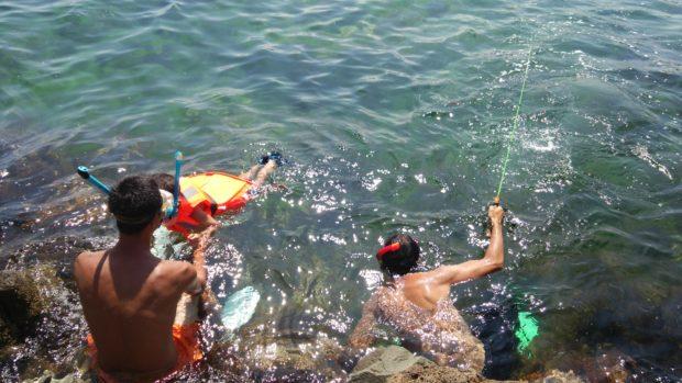 シュノーケリングや泳ぎ釣り
